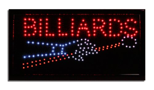 LED Neon Lighted Billiards Sign - Pool Table Sign -