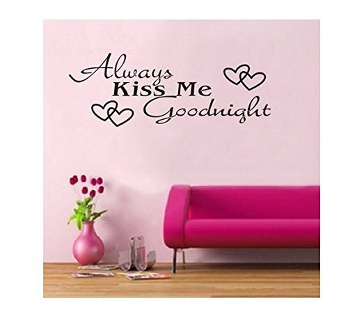 WOW!STickeRs Black Always Kiss Me Goodnight Wall Decal Sticker Home Art Vinyl Removable Decor