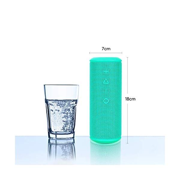 Zamkol Enceinte Bluetooth Portable, Waterproof Haut-Parleur Bluetooth Enceinte sans Fil 24W, 360° HD Bass Pilote Double, Bluetooth 4.2, étanche IPX6, Mains Libres et Technologie TWS - Turquoise 4
