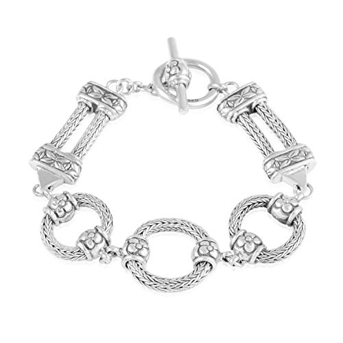 Tulang Naga chain Bracelet toggle clasp 925 Sterling Silver Boho Handmade Jewelry for Women Size 7.5