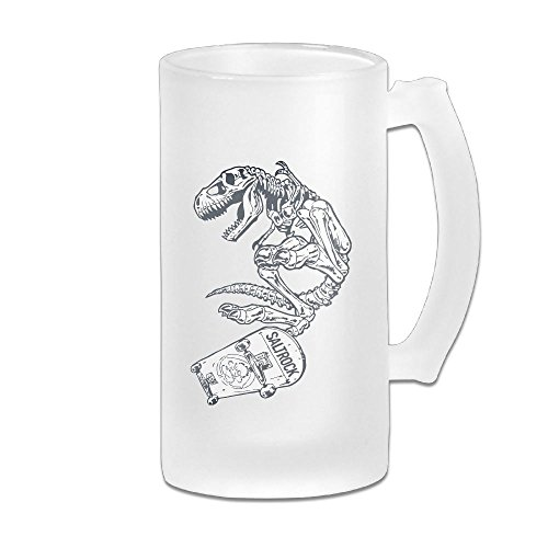 Personalized Cool Raptor Dinosaur Skateboarder Beer Mug Glass Quality Boutique Beer Mugs Scrub Beer Cup