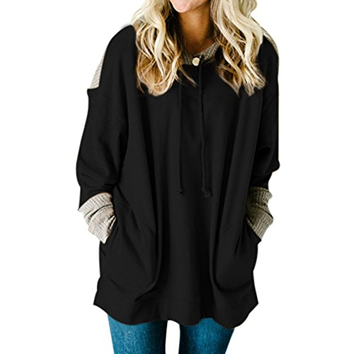 - MuCoo Women's Oversized Fit Long Sleeve Front Pockets Knit Colorblock Hoodie Sweatshirt Black L
