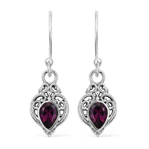 925 Sterling Silver Pear Rhodolite Garnet Dangle Drop Earrings Gift Jewelry for Women Cttw 0.8