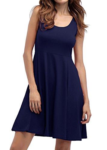 ... ZJCTUO Damen Ärmelloses Beiläufiges Strandkleid Sommerkleid Tank Kleid  Knielang Dunkelblau Az2kTa ... aa6f57c928