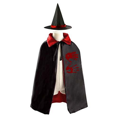 A cruel boy Kids Hallowmas Halloween hand prints Black Cloak or Cape with Hood (Diy Apple Halloween Costume)