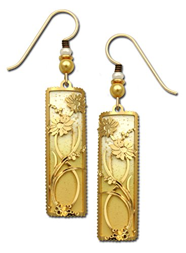 - Adajio Earrings Gold and White Column 2 Part Daisies Filigree Hand Painted with Gift Box Made in USA