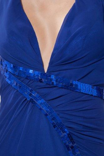 Abendkleid neck Rückenfrei aus V Blau Chiffon Ballkleid gRqzqw