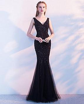 LUCKY-U Vestido largo mujer Elegante Sirena Negro Boda Fiesta Paseo Espectáculo de baile Damas