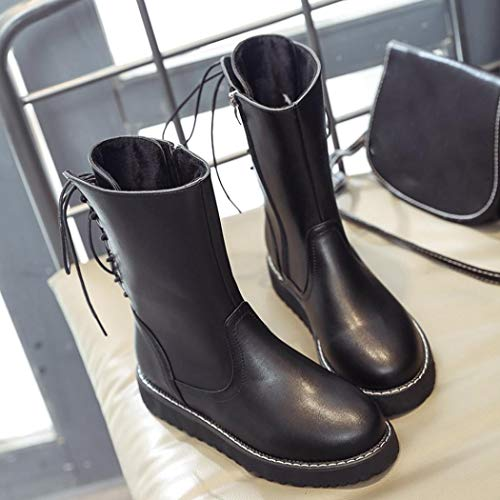 Black Leather Boots Martin Ladies Boots Bottom Thick Classic Head Fashion Boots DAYSEVENTH Round Flat U4qpOCw