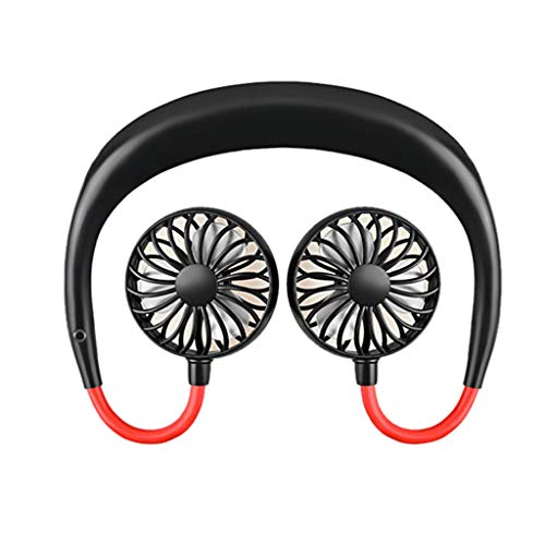 Orcbee  _Portable USB Rechargeable Neckband Lazy Neck Hanging Style Dual Cooling Fan (Black)]()
