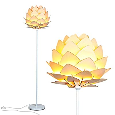 Brightech Artichoke LED Floor Lamp- Unique Contemporary Standing Light for Living Room, Bedrooms- Modern Multi-Panel Style Wooden Shade – Tall Pole Uplight Lamp - UPRIGHT LAMP FOR CONTEMPORARY DECOR: The Artichoke LED Floor Lamp has a stunning sculptural design that will upgrade your space in a unique and creative way. It pairs well with modern, mid-century, Scandinavian, and Asian style décor. The pole has a white finish, which helps provide a clean, sleek look and fits perfectly with the inviting tone of the warm white LED light the bulb emits. ALEXA & GOOGLE HOME COMPATIBLE WARM READING LIGHT FOR HOME OR OFFICE: Works with smart outlets that are Alexa, Google Home Assistant, or Apple HomeKit enabled, to turn on/off. (Requires smart outlet sold separately.) The Artichoke Lamp gives off warm, cozy light without producing a harsh glare and creates a comfortable space beside your book chair; it's a great alternative to unpleasant overhead lights. FITS EASILY NEXT TO A SIDE TABLE, BED, DESK, OR COUCH: This lamp is lightweight, weighs only 12.5 pounds, and reaches just over five and a half feet tall, so that it is easy to move around to where light is needed most in your room. Its slender design makes it easy to place near love seats, sofas, armchairs, side tables, and desks. The lamp has a weighted base that prevents tipping, and the convenient to use on/off pedal switch allows you to easily tap the lamp on or off with your foot. - living-room-decor, living-room, floor-lamps - 41APbS6NV1L. SS400  -