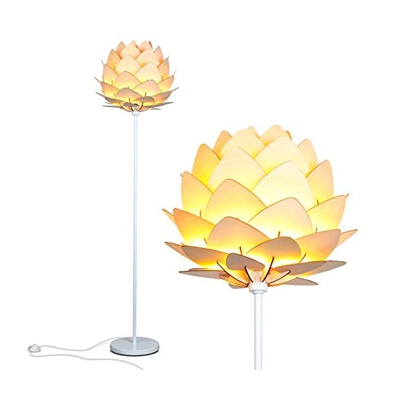Brightech Artichoke LED Floor Lamp- Unique Contemporary Standing Light for Living Room, Bedrooms- Modern Multi-Panel Style Wooden Shade – Tall Pole Uplight Lamp - UPRIGHT LAMP FOR CONTEMPORARY DECOR: The Artichoke LED Floor Lamp has a stunning sculptural design that will upgrade your space in a unique and creative way. It pairs well with modern, mid-century, Scandinavian, and Asian style décor. The pole has a white finish, which helps provide a clean, sleek look and fits perfectly with the inviting tone of the warm white LED light the bulb emits. ALEXA & GOOGLE HOME COMPATIBLE WARM READING LIGHT FOR HOME OR OFFICE: Works with smart outlets that are Alexa, Google Home Assistant, or Apple HomeKit enabled, to turn on/off. (Requires smart outlet sold separately.) The Artichoke Lamp gives off warm, cozy light without producing a harsh glare and creates a comfortable space beside your book chair; it's a great alternative to unpleasant overhead lights. FITS EASILY NEXT TO A SIDE TABLE, BED, DESK, OR COUCH: This lamp is lightweight, weighs only 12.5 pounds, and reaches just over five and a half feet tall, so that it is easy to move around to where light is needed most in your room. Its slender design makes it easy to place near love seats, sofas, armchairs, side tables, and desks. The lamp has a weighted base that prevents tipping, and the convenient to use on/off pedal switch allows you to easily tap the lamp on or off with your foot. - living-room-decor, living-room, floor-lamps - 41APbS6NV1L. SS570  -