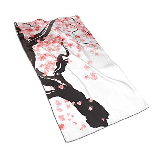 KDCRDIY Japanese Cherry Tree Blossom Hand Towel Quick-Dry Microfiber Towels Super Soft, Plush and Highly Absorbent Size 27.5