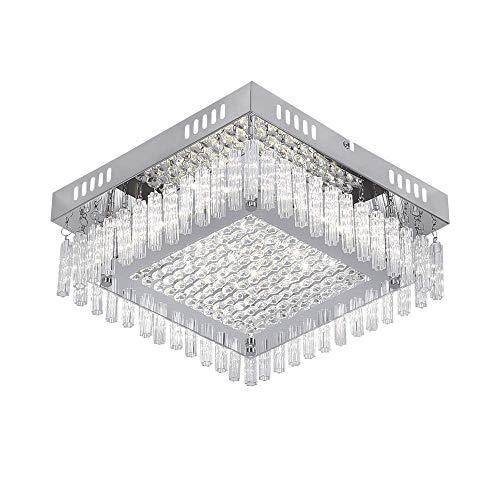 AUDIAN Flush Mount Ceiling Light Ceiling Lamp Dimmable LED Modern Square Shade K9 Crystal Bead Ceiling Flush Mount Polished Chrome Light for Porch Bedroom Children's Room Bathroom W11H4.3''