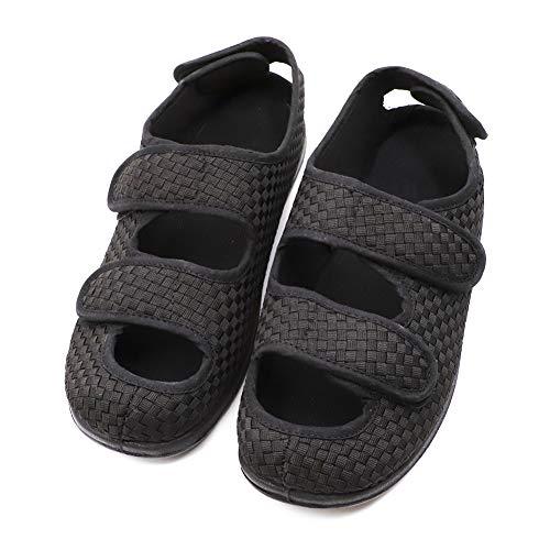 (Men's Extra Wide Width Adjustable Slippers, Diabetic & Edema Slippers Swollen Feet Walking Shoes Indoor/Outdoor Orthopedic Sandals Black)