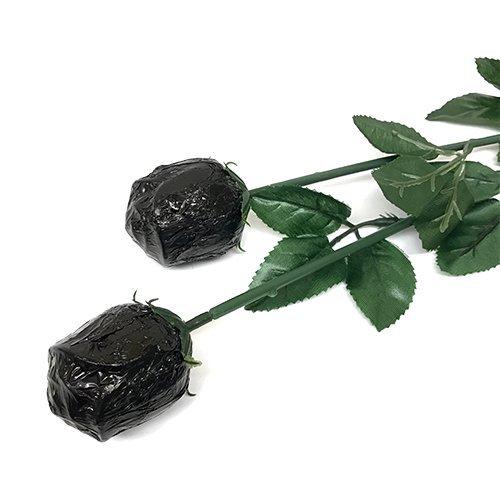 Valentine Gift Black Foiled Belgian Milk Chocolate Color Splash Long Stem Rose Bouquet - Pack of 20