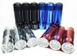Ultra bright Timlon 12 Pack Mini Flashlights Super Bright 9 LED Mini Aluminum Flashlight with Lanyard, Assorted Colors, Simple to Operate Tiny Pocket Keychain Flashlight Outdoor Emergency EDC Tools