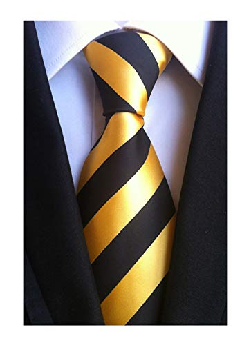 (Elfeves Men's Modern Striped Patterned Formal Ties College Daily Woven Neckties (One Size, Golden)