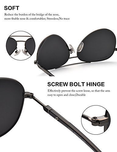 Men Women Sunglasses Aviator Polarized Driving by LUENX - UV 400 Protection Grey Lens Gun Metal Frame 60mm by LUENX (Image #4)