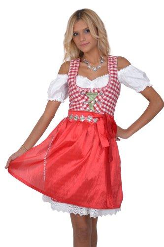 Dirndl Set 3tlg Trachtenkleid 318GT Rot Weiß Kariert Gr 34 36 38 40 42 38
