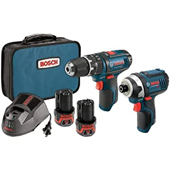 Bosch CLPK241-120 12-Volt Max Lithium-Ion 2-Tool Combo Kit with 3/8-Inch Hammer Drill and 1/4-Inch Hex Impact Driver, 2 Batteries, Charger and Case