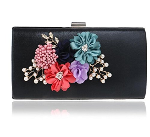 Women Handbag Party Evening Gift Clutch Handmade Flowers Clubs Black Shoulder Glitter Ladies Bag Purse Envelope Bridal Wedding Prom For Bag AIrqCwA