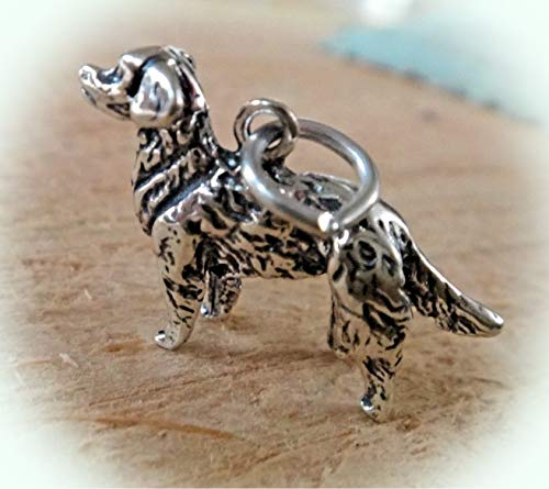 Sterling Silver 3D 15x24mm 4.5gram Golden Retriever Dog Charm Vintage Crafting Pendant Jewelry Making Supplies - DIY for Necklace Bracelet Accessories by CharmingSS