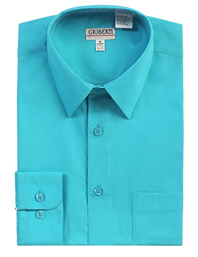 Gioberti Men's Long Sleeve Solid Dress Shirt, Teal, X Large, Sleeve 35-36 (Mens Solid Dress)