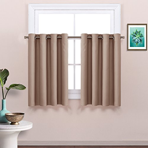 Nicetown Thermal Insulated Blackout Curtain Panel For Half Window Tier Valance 52w By 36l