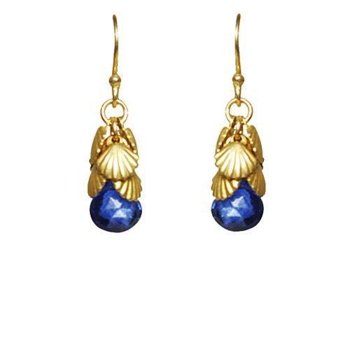 Gold Shell Cluster - Shell Cluster Blue Sapphire Vermeil Earrings