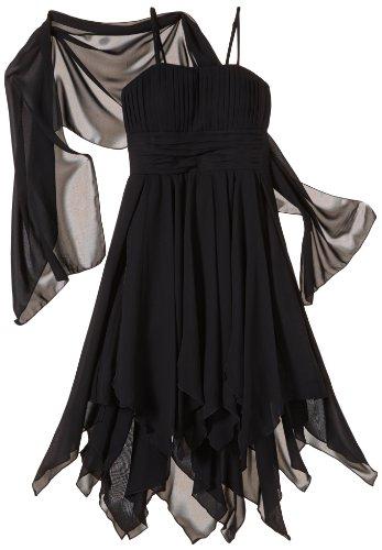 L mit Schwarz Mädchen Kleid Black Vokuhila Bekleidungsset O 2 Chiffon G Stola 01Ewz5Yq