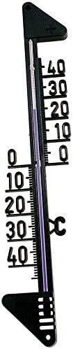 Fackelmann Hauswandthermometer TECNO, Thermometer für den Innen- und Außenbereich, analoge Temperaturanzeige (Farbe: Schwarz), Menge: 1 Stück