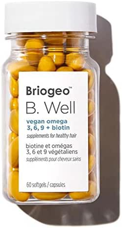Briogeo B. Well Hair Supplements 60 Capsules! Formulated with Omega 3, 6, 9 and Biotin Vitamin! Vegan, Paraben Free & Cruelty Free! Daily Supplement for Healthy Hair!