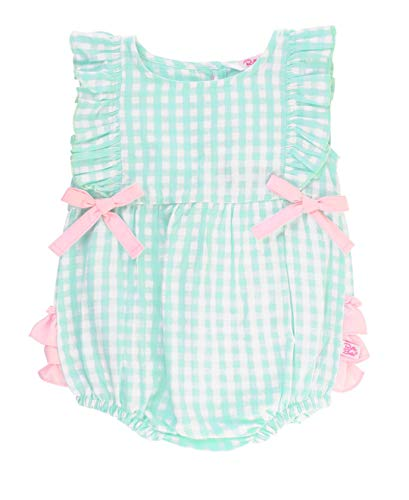 - RuffleButts Baby/Toddler Girls Clear Blue Gingham Ruffle Romper - 3-6m