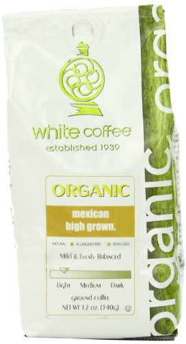White Coffee Organic Ground Coffee, Mexican High Grown, 12 Ounce
