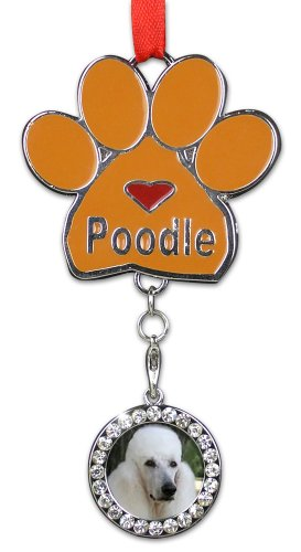 Poodle Ornament - I love Poodles Christmas Ornament - Place for a Picture of Your Favorite Poodle - Hanging Paw Print Designs with Red (Red Poodle)