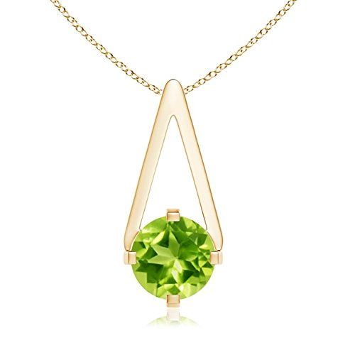 Flat Prong-Set Solitaire Peridot Triangle Pendant Necklace for Women in 14K Yellow Gold (6mm Peridot) (Triangle Peridot Pendant)