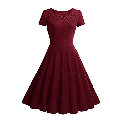 U8Vision - Vestido - trapecio - para mujer rojo oscuro