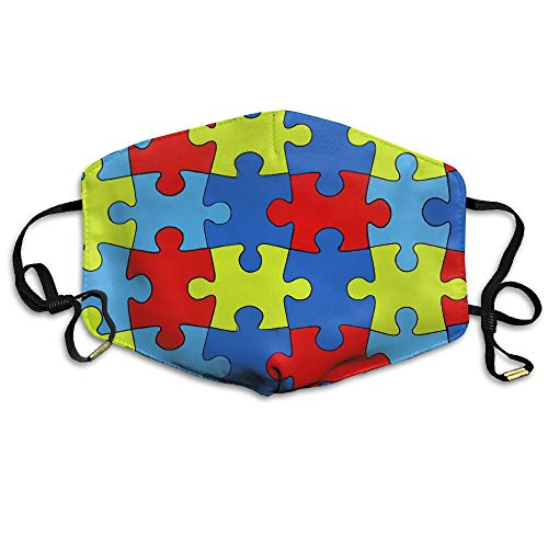 Stazary Autism Awareness Puzzle Jigsaw Face Mouth Mask Unisex Polyester Comfy Anti Dust Masks ()