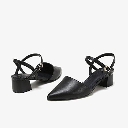 Zapatos Moda Bromista De Altos Black Mujer DKFJKI Clásico Mary Color Zapatos Jane Tacones Sólido Bxqp16