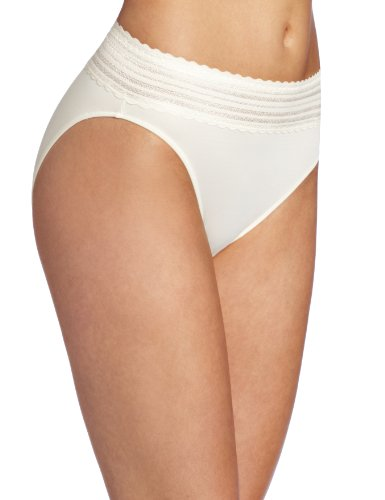Warner's Women's No Pinching No Problems Lace Hi-Cut Brief Panty, Vanilla, X-Large