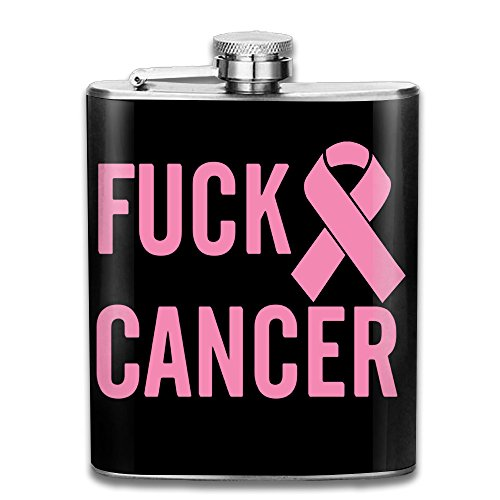 Fuck Cancer Flasks Stainless Steel Liquor Flagon Retro Rum Whiskey AlcoholPocket Flask Liquor Flagon Retro Rum Whiskey Flask Great Gift 7OZ (Office Halloween Costume Rules)