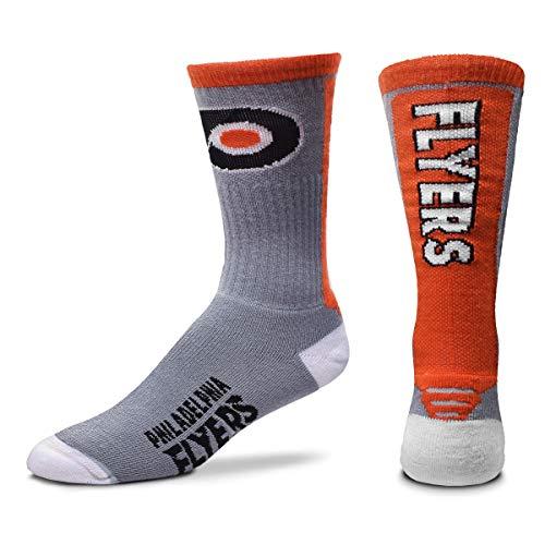For Bare Feet NHL Mens Cool Gray Jump Key Crew Socks (Philadelphia Flyers, Large)