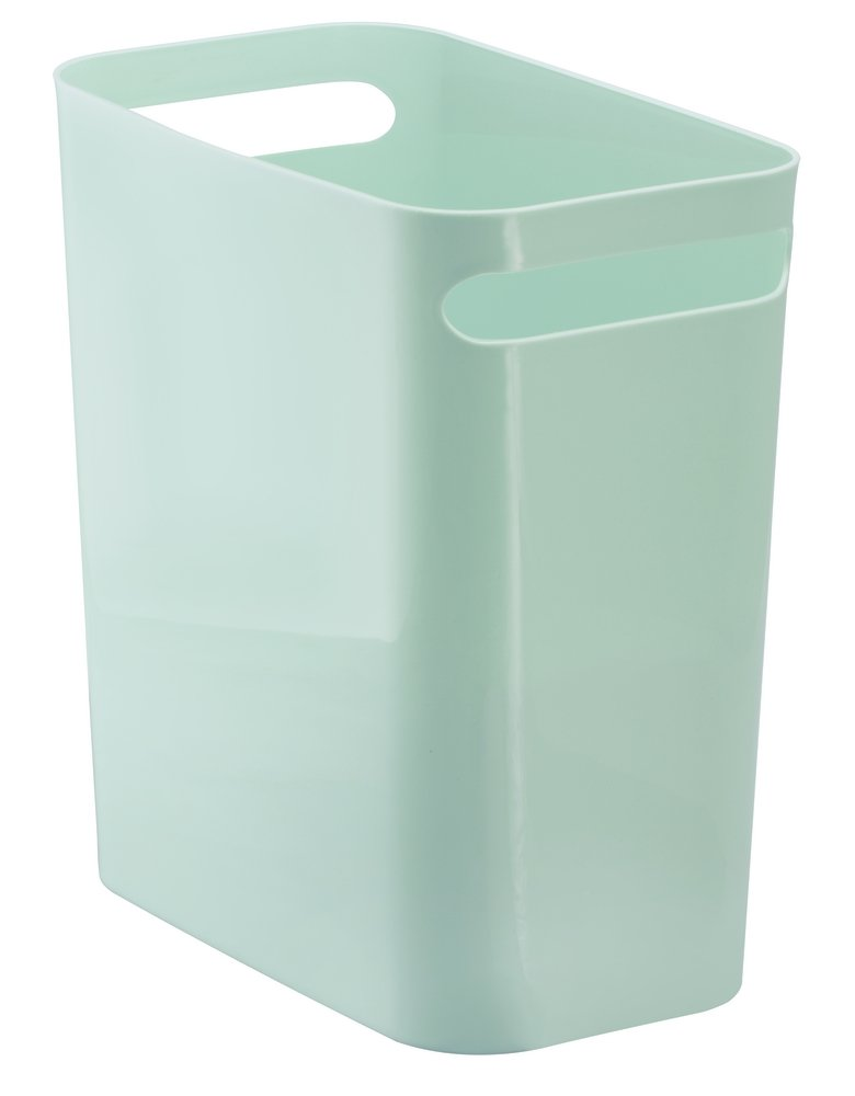 mDesign Slim Rectangular Small Trash Can Wastebasket, Garbage Container Bin with Handles for Bathrooms, Kitchens, Home Offices, Dorms, Kids Rooms — 12 inch high, Shatter-Resistant Plastic, Mint