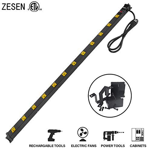 - ZESEN 12 Outlet Heavy Duty Workshop Metal Power Strip Surge Protector with 4ft Heavy Duty Cord, ETL Certified, Black