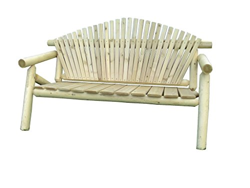 (Rustic Outdoor White Cedar Log Adirondack Park Bench - Amish Made in the USA)
