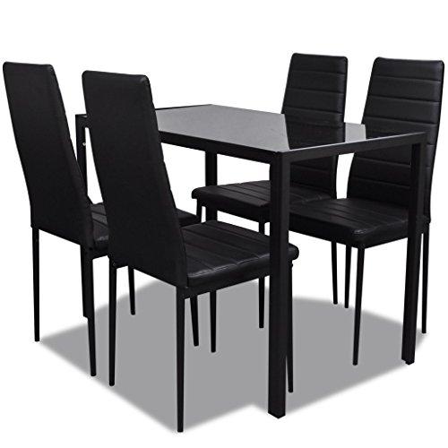 vidaXL Esszimmertisch mit 4 Stühlen, Schwarz modernes Design