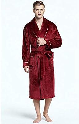SHANGLY Hombres Felpa Caliente Albornoz Ropa De Dormir Otoño Invierno Habitación Bata Espesamiento Pareja Homewear,L
