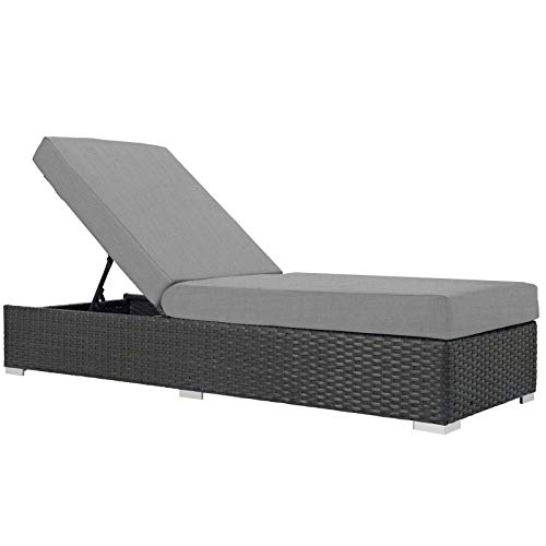 Modway EEI-1862-CHC-GRY Sojourn Outdoor Patio Sunbrella Chaise Lounge in Canvas Gray
