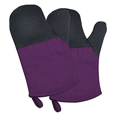 DII 100% Cotton, Machine Washable, 425°F Heat Resistant, Everyday Kitchen Basic, Neoprene Oven Mitt, 6 x 11 , Set of 2- Eggplant